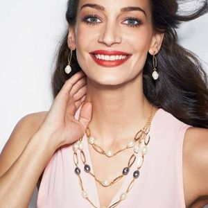 Layered Pearlesque StatementNecklave & Earring Set